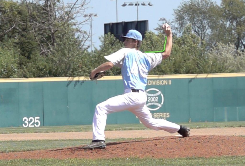 baseball elbow angle pitching